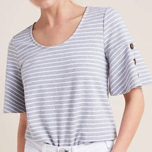 Anthropologie Canton Striped Top w/ Bell Sleeves